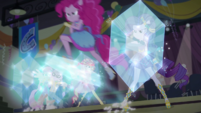 Pinkie Pie riding on a floating shield EGDS50