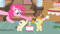 Pinkie Pie smiling at twins S2E13