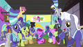 Ponyville ponies cheer for Fluttershy, Pinkie, and Snails S6E18.png