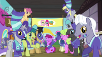 Ponyville ponies cheer for Fluttershy, Pinkie, and Snails S6E18