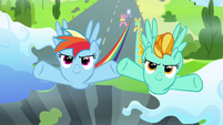 Rainbow Dash and Lightning Dust flying S3E07