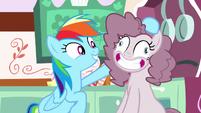 Rainbow Dash fluffs Pinkie Pie's mane S8E18