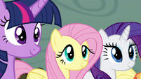Twilight, Fluttershy, and Rarity smiling S4E18