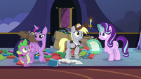 Twilight, Spike, and Derpy confused by Starlight's worry S6E25
