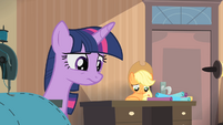 Twilight and Applejack looking down S4E08