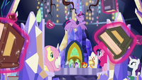 Twilight tossing books all over the throne room S7E25