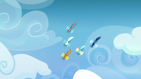 Wonderbolts diving through the air S7E7
