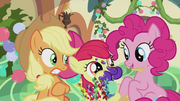 Apple Bloom stuffing her mouth with treats S5E20