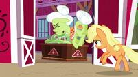 Applejack knocks Granny Smith into the barn S6E23