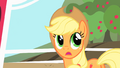 Applejack trying to come up with an excuse to avoid Gummy's after party S1E25.png