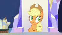 Applejack with nervously darting eyes S9E4