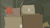 Boxes of disorganized clothes S6E9