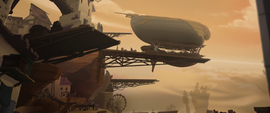 Celaeno's airship at the Klugetown docks MLPTM