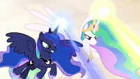 Celestia and Luna firing magic from above S9E2