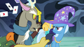 Discord tossing Trixie's saddlebag supplies S6E25.png
