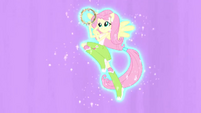 Fluttershy hovering with tambourine EG2