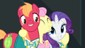 Fluttershy hugging Rarity and Big Mac S4E14.png