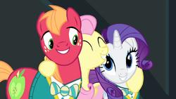 Fluttershy hugging Rarity and Big Mac S4E14