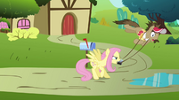 Fluttershy swings Globe Trotter around S2E19