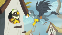 Gabby delivering mail to a griffon S6E19