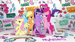 Mane Six group pose in Fresh Princess music video