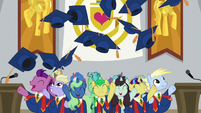 Ponies tossing their graduation caps S8E16