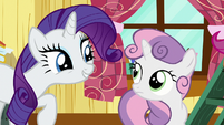 Rarity amused by Sweetie Belle's business talk S7E6