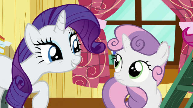 File:Rarity amused by Sweetie Belle's business talk S7E6.png