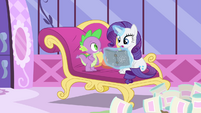 Rarity levitates the book S4E23