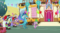 Spike welcoming Princess Ember to Ponyville S7E15