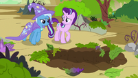 Starlight Glimmer and Trixie in front of a large hole S7E17