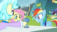 Trader gives RD and Fluttershy crystal chalice S4E22