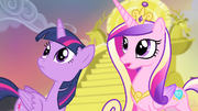 Twilight and Cadance looking towards the hill S4E11