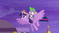 Twilight and Spike flying S4E01