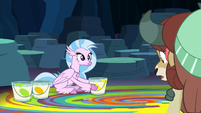 Yona looking at Silverstream's floor mural S9E3