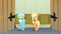 Young Applejack worried about Big McIntosh S6E23