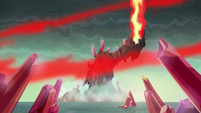 A powerful blast creates a red magical wave S6E5