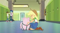 Applejack smiling at her pet pig EGDS4