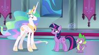 Celestia and Spike surprised at Twilight S8E7