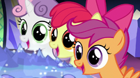 Cutie Mark Crusaders in wide-eyed awe S8E6