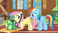 "Fluttershy hears Rainbow asking ""Well?"" S5E5"