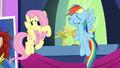 Fluttershy unsure about Rainbow's decorative choices S5E3.png