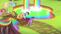 Main Six and Spike entering the Rainbow Falls Traders Exchange S4E22.png