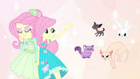 Normal Fluttershy pointing at her pets EGDS26