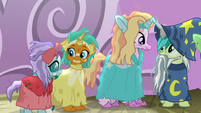 Ocellus, Smolder, Silverstream, and Sandbar in ruined costumes S8E7