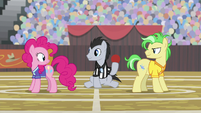 Pinkie Pie and stallion playing buckball S9E6