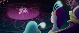 Queen Novo looking down at the Mane Six MLPTM