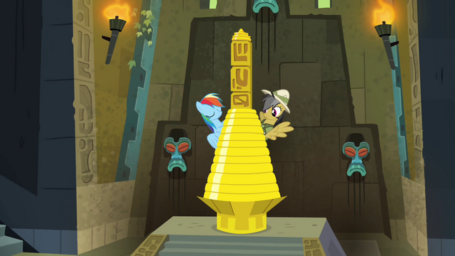 File:Rainbow and Daring next to the pillar S4E04.png