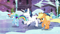 Rainbow running with the other ponies S6E2