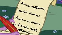 Spike's letter to Princess Celestia S02E10